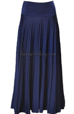 Navy Pleated long maxi skirt would flatter all body type in sizes S M L Xl 2XL 3XL 4XL.  $28.99