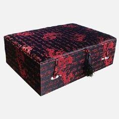Black Dragon & Chinesische Kalligrafie Design Oriental Brokat Schmuck Box MA