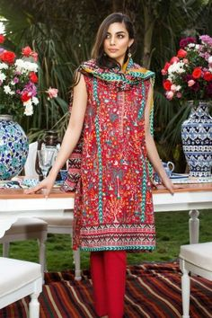 KHAADI RED STITCHED LAWN 3PCS SUIT WITH FULL SLEEVES