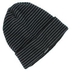 7914db2381e Adidas Black Gray Striped Beanie Winter Watch Hat for Men - One Size - Dock  Fold
