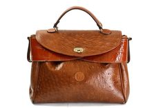 Authentic Vintage Fendi Satchel Bag, Colorblock Ostrich Leather, Brown 1960s. $975.00, via Etsy.