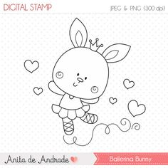 OFF Sweet Ballerina Bunny Stamp - personal and commercial use, line art, graphics, digital clip art, digital images - Colorful Drawings, Easy Drawings, Colouring Pages, Adult Coloring Pages, Cute Images, Digi Stamps, Animal Drawings, Doodle Art, Line Art