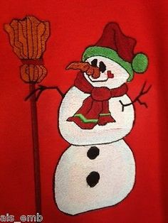 Snowman Embroidery on Red size XL Sweatshirt - pinned by pin4etsy.com