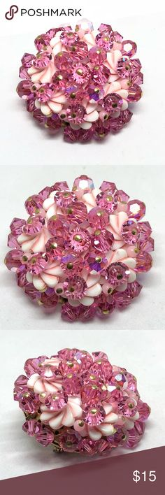 """Vintage Pink & White Glass Crystal Pin A 1 1/2"""" in diameter pink crystal and white glass beaded pin made using Aurora Borealis crystals! Very well-made and sparkly! In excellent vintage condition! Vintage Jewelry Brooches"""