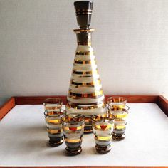 1950s Hungarian crystal Mad Men decanter w/ shot glasses - gold stripe design - liquor drinking set - Don Draper office - wedding gift on Etsy, $52.25