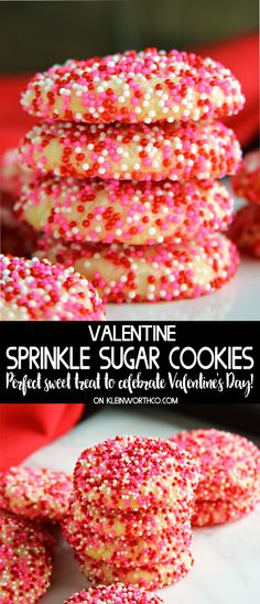 Show your love for your sweetie with these adorable & delicious Valentine Sprinkle Sugar Cookies. Easy to make & are sure to bring big smiles to every Brownie Desserts, Oreo Dessert, Mini Desserts, Dessert Recipes, Dessert Ideas, Valentine Desserts, Valentines Baking, Valentines Day Food, Valentine Cookies