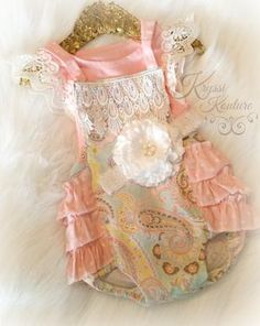 b969c2bcb1f Kryssi Kouture Pink and Aqua Floral Ruffle Romper - Summer Romper - Ruffle  Baby Romper - Birthday Romper - Floral And Lace Romper