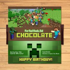 Minecraft Candy Wrapper Green Blocks * Minecraft Candy Chocolate Bar Label * Minecraft Party Favors by MonksTavern, $2.95 USD