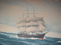 19th C. Mohagony Frame W/ Original C. Hugo Schnars Alquist Colored Etching
