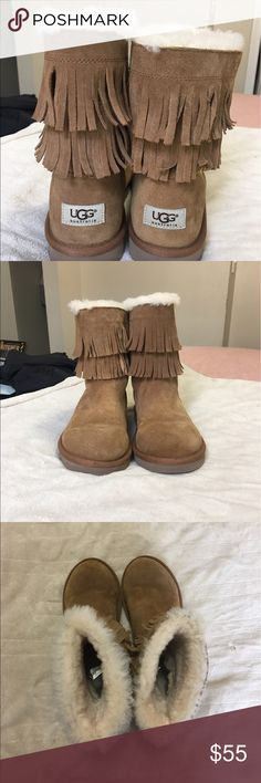 Chestnut fringe Uggs Chestnut colored kids uggs. Size 5 kids (7 adult). Worn about 5 times. Fur inside is like new. No wear and tear. UGG Shoes Winter & Rain Boots