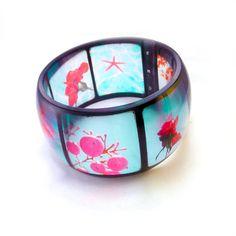 Aqua and Red Resin Bangle Instagram Bangle Bracelet by BuyMyCrap. $50.00, via Etsy.