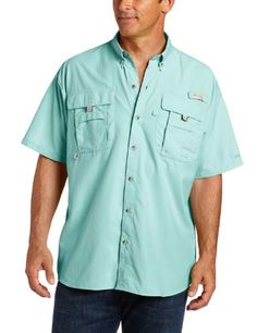 Columbia Men's Bahama II Short Sleeve Fishing Shirt (Gulf Stream, Large) - Designed specifically for the needs of anglers, this lightweight, durable nylon shirt dries fast, with mesh-lined cape vents at the back shoulder to keep you cool and built-in UV protection.
