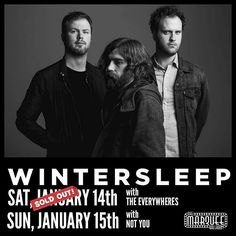 CONTEST ALERT! You could be hanging out with  @wintersleeptheband in a week.  SUNDAY JAN 15. MARQUEE CLUB.  Saturday is sold out but you can still get tickets for Sunday at :  http://noise.fyi/wintersleepsunday . back to the CONTEST... tag someone you want to hangout with Sunday night. actually tag as many people as you want for more chances to win BUT only one tag per comment.  and of course they can tag you back etc. #))<>(( . Ill randomly pick a winner at 4:30 the SUNDAY of the show so…