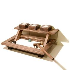 Mini Zen Garden Large Rustic Wood with 3 Candle Holders Walnut Color 50 % off Shipping $110