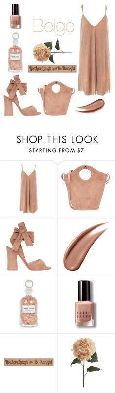 """""""Monochrome: Beige"""" by yosifova ❤ liked on Polyvore featuring Sans Souci, Elizabeth and James, Gianvito Rossi, Mullein & Sparrow, Bobbi Brown Cosmetics, DutchCrafters, Pier 1 Imports, casual, contest and outfit"""