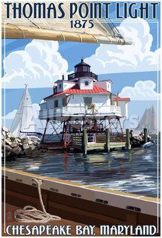 Thomas Point Light - Chesapeake Bay, Maryland Landscapes Poster - 33 x 48 cm