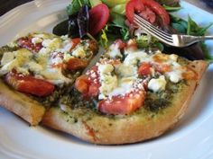 Pesto Pizza with Feta and Tomatoes