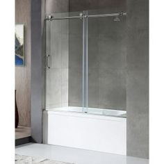 Delta Classic 400 Curve 60 in. x 62 in. Frameless Sliding Tub Door in Stainless-B55910-6030-SS - The Home Depot Glass Shower, Shower Tub, Dream Shower, Sliding Shower Screens, Home Depot, Tub With Glass Door, Modern Towel Bars, Stainless Steel Door Handles, Bathtub Doors