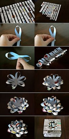 Great tutorial for making a bow out of a magazine, newspaper or wrapping paper