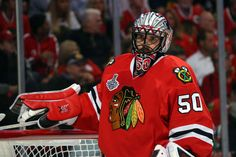 CHICAGO, IL - JUNE 08: Corey Crawford #50 of the Chicago Blackhawks looks on during a break in play against the Tampa Bay Lightning during Game Three of the 2015 NHL Stanley Cup Final at the United Center on June 8, 2015 in Chicago, Illinois. (Photo by Bruce Bennett/Getty Images)