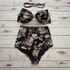 ❤ Bikiniboo Vintage Inspired Handmade High Waisted Bikini ❤ ❤ In Beautiful Black and Creamy Hue Rose Floral Print ❤ This bikini is everything that