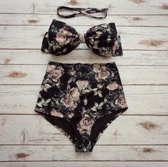 ❤ Bikiniboo Vintage Inspired Handmade High Waisted Bikini ❤  ❤ In Beautiful Black and Creamy Hue Rose Floral Print ❤  This bikini is everything that