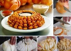 Blooming Onion Recipe // Delicious (and healthy) snack! Blooming Onion Recipes, Sauce Recipes, Cooking Recipes, Bloomin Onion, Great Recipes, Favorite Recipes, Food Porn, Tasty, Yummy Food