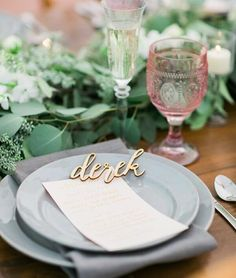 """""""Lovely simple table setting from @heatherdawnevents with  by @bloomfloraldesign & name laser cuts from us! {shop link in profile} #wedding #tablescape…"""""""