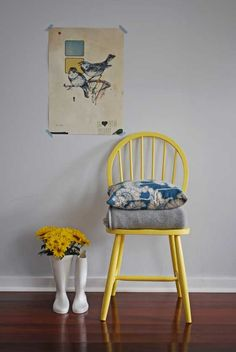 Happy Yellow Chair - I have a chair and my spray paint picked for this already