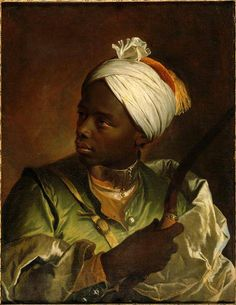 Portrait de Jeune Noir avec Arc (portrait of a young African man with a bow) – by Hyacinthe Rigaud – c.1700.