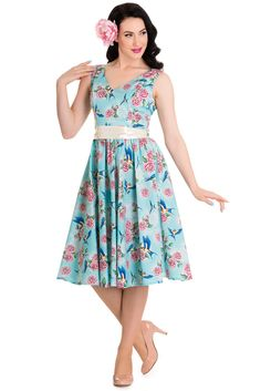 Hell Bunny 50's Blue Birds & Pink Roses with Bow Party Dress Turquoise