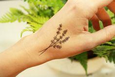 2 Lavender Twigs Temporary Tattoo Black Ink Tattoo by NatureTats…