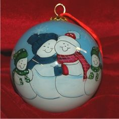 Glass Ball Snow Family of 4 - New Baby Family Christmas Ornament
