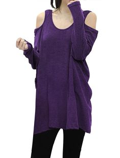 Allegra K Ladies Cut Out Shoulder Loose Tunic Top Purple at Amazon Women's Clothing store: