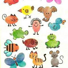 New drawing ideas for kids kindergartens ideas Thumb Painting, Finger Painting For Kids, Drawing For Kids, Art For Kids, Crafts For Kids, Arts And Crafts, Paper Crafts, Drawing Ideas, Fingerprint Crafts