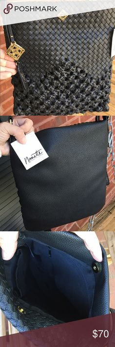 """NWT Nanette Lepore Roma black woven cross-body This is a NWT Nanette Lepore crossbody black vegan leather purse with a adjustable length strap. Front exterior has unusual woven pattern that starts tight on the top and becomes wider as it descends. Has 2 fobs, metal logo and a doubled up black man-made leather with the Nanette signature printed in gold ink. 12"""" tall, 10"""" wide, strap has 23"""" drop. Interior has magnetic snap button closure, a zip pocket and 2 slide pockets. NWT Nanette Lepore…"""