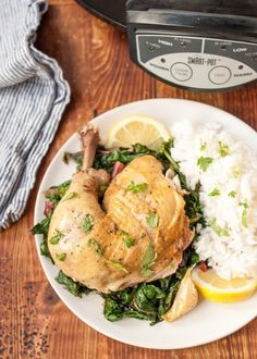 Cook a whole chicken in lemony sage-infused milk. Slow Cooker Chicken has never been more delicious, tender, or juicy! (recipes with chicken quarters) Slow Cooker Recipes, Crockpot Recipes, Chicken Recipes, Turkey Recipes, Chicken Quarters, Large Slow Cooker, Gluten Free Chicken, Stuffed Whole Chicken, Slow Cooker Chicken
