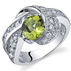 Mystic Divinity 125 carats Peridot Ring in Sterling Silver Rhodium Nickel Finish Size 6 * Click on the image for additional details. (This is an affiliate link) #Rings