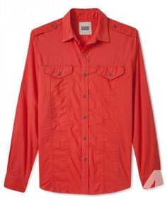 Vintage Red Shirt Jacket, Cambric Button-Down