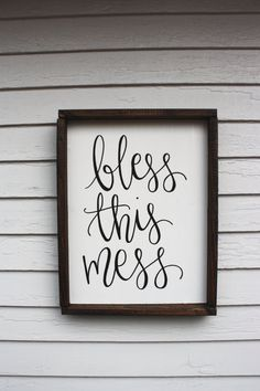 Bless this Mess Wood Sign Custom Wood Sign by palaceandjames