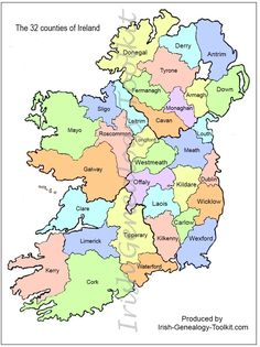 map of Counties in Ireland | This county map of Ireland shows all 32 counties on the island. It ...