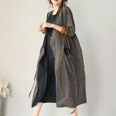 Autumn Cotton Linen Dress Long Sleeve