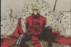 "Trigun. A mysterious figure known as Vash ""The Stampede"" roams a desolate planet, destruction following in his wake. But is he really the sinister bringer of mayhem everyone believes him to be?"