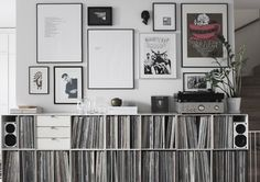 Black and White prints above a fabulous record collection!