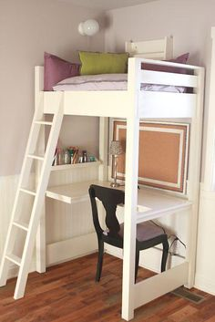 Kid-sized reading loft and desk | DIY Project built from Free Furniture Plans by Ana White