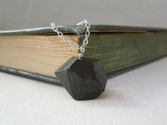 Natural Black Tourmaline Necklace  Ebony Tourmaline by Saout, $24.00