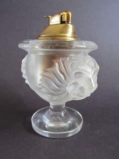 Vintage Lalique Frosted Crystal Table Cigarette Lighter Lion Head Tete de Lion