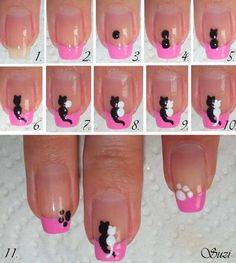 cute simple nail designs for short nails - Best Ideas for Cute ... Kitten love.