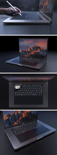Designed with designers in mind, this MacBook Pro 2018 concept explores the integration of a full-size touchpad in place of the traditional keyboard. It relies on Apple's own Taptic Engine system to give the user the feel of physical buttons or even emulate a scroll wheel or sliders. It retains the touch bar for shortcuts and function keys but the entire surface is touch enabled!