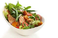 Thinkstock      9 Grilled Chicken Salads That Will Make Healthy Eating Easier Avocado Chicken Apple Salad Chicken and Bacon Salad Chicken Nacho Salad Chicken Salad with Feta and Pomegranate Grilled Chicken Salad with Olives Grilled Chicken Panzanella Roasted Vegetable Grilled Chicken Salad Spice-Rubbed Chicken Salad Teriyaki Grilled Chicken Salad 8 of 10 Thumbnails List Full Story Slow